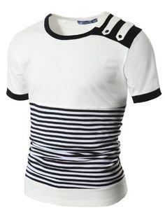 Mens Button Stripe Short T-shirts I like this, but I'm not sure Howard will. Casual T Shirts, Cool Shirts, Men Casual, Mens Polo T Shirts, Mens Tees, Patron T Shirt, Shirt Collar Styles, Camisa Polo, Jeans And Sneakers