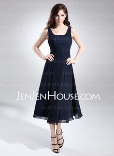 US  104.99  A-Line Princess Square Neckline Tea-Length Chiffon Bridesmaid  Dress With Ruffle - JenJenHouse 1abc980a9876