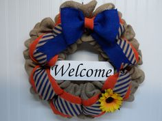 Burlap Welcome Wreath, Natural Burlap Wreath with Navy, Front Door Wreath, Year Round Wreath, Sunflower, Burlap Bow, Navy and Orange Accents by BeautifulHomeAccents on Etsy