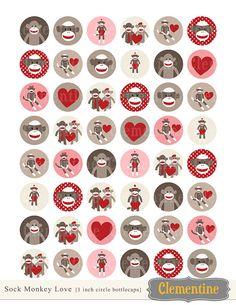 Sock Monkey bottle cap images images par ClementineDigitals sur Etsy