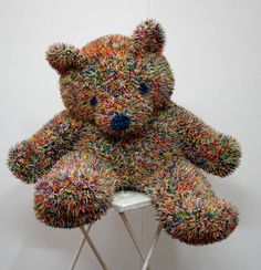 "Just when you think you've seen it all, you come across something like this. Rio, Brazil-based artist Felipe Barbosa scours local supermarkets to find his raw materials. In this case, he's taken ""snaps"" or firecrackers and created a collection of prickly-looking stuffed animals including a not so cuddly teddy bear."