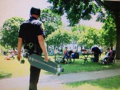 Green Bay, Wis., police officer Joel Zwicky wanted to get closer to the community by patrolling on skateboard and hopes to be an inspiration to kids.