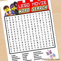 FREE Printable LEGO Movie Word Search