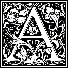 "William Morris design of the letter A, converted from a font ""Goudy Initialen"" by Dieter Steffmann"