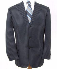 Corneliani Blazer 38R Super 150s Merino Wool Blue Pinstripe Dual Vent Sport Coat…
