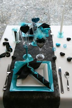 Looks Like New Years Eve Black Turquoise Colors Party Table Decoration Ideas