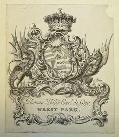 Armorial bookplate of Thomas Philip de Grey, Earl de Grey (1781-1859)