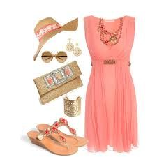 wedding guest coral dress - Google Search
