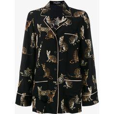 Dolce & Gabbana Bengal Cat print pyjama top (27 915 UAH) ❤ liked on Polyvore featuring blouses and pajamas