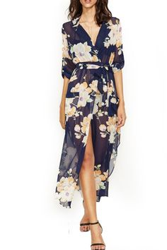 Printing down waist strap long sleeved Chiffon Dress