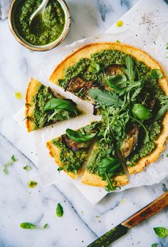 Socca Pizza with Sunflower Pesto, Aubergine & Arugula
