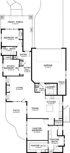 Craftsman Style House Plan - 3 Beds 2 Baths 1710 Sq/Ft Plan #895-21 Bump the living dining area out where part of patio is to make a large rectangular area rather than L shaped.