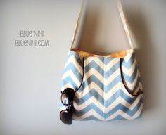The Anchor Tote in Blue and White Zig Zag and Amy Butler's Floating Buds by Blue Nini