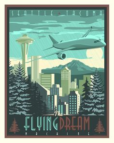 The Flying Dream Machine Seattle Poster - Squadron Posters