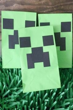 To finish off we have these excellent creeper party favor bags. They are really simple to make and kids are going to love them. Cut out some eyes and mouths from black card stock and glue them to green paper bags. Now all you need to do is fill them with goodies! How easy is that? See more party ideas and share yours at CatchMyParty.com