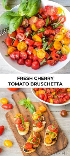 We make this simple fresh cherry tomato and basil bruschetta recipe with fresh homegrown tomatoes and fresh basil every time we have backyard parties. Italian Appetizers, Best Appetizers, Appetizer Recipes, Tomato Bruschetta, Bruschetta Recipe, Backyard Parties, Summer Parties, Cherry Recipes, Game Day Food