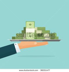 Business man hand holding tray with big pile of money vector symbol illustration, bank loan cash giving, credit packet, hypothec, mortgage, salary payment, modern design isolated, flat style emblem  - stock vector