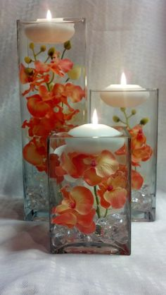 three square vases with coral orchids and by WreathsByDiane, $70.00