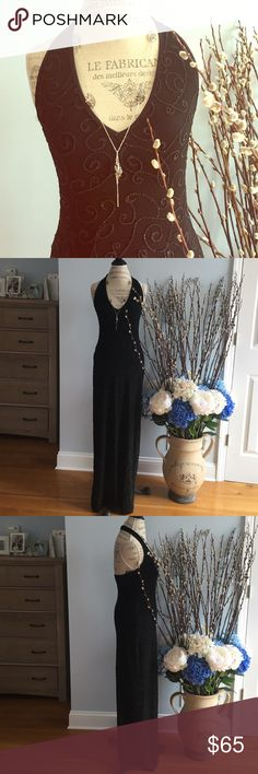 """CACHE SIZE MEDIUM BEADED HALTER BLACK DRESS NEVER WORN Stunning gala black long dress for a special occasion. HEAVILY BEADED THRU FROM TOP TO BOTTOM. Length of top halter is 59"""" and the back slit is 28""""inches. Stretchy heavy Lycra material Cache Dresses Wedding"""