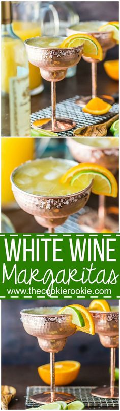 Cheers with a WHITE WINE MARGARITA! This easy recipe for White Wine Margaritas for a crowd makes a fast pitcher of the best ever margaritas, simple and refreshing!