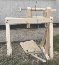Make a Pole Lathe (out of rustic wood would be nicer for events.) | See more about Rustic Wood, Wood and Wood Lathe.
