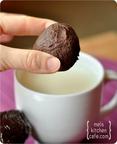 Truffle Hot Chocolate Balls. They make hot chocolate when dropped in milk. [A pile of these individually wrapped mounds with a mug would make for a perfect gift!]