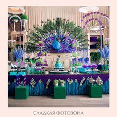 sweetzone_12 Peacock Wedding Decorations, Peacock Decor, Peacock Theme, Wedding Centerpieces, Purple Wedding, Wedding Colors, Our Wedding, Dream Wedding, Rustic Wedding