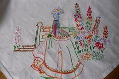 Hand Made Embroidered Tablecloth Vintage Linen  'Crinoline