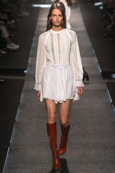 Louis Vuitton Spring Summer 2015 Sheer flowy dress with long brown boots. It gives me a 70's like hippie vibe and I love it