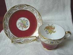 Spode England Bone china Dinnerware Regent-Red Pattern #:Y6941 Cup and saucer