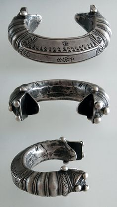 Pakistan | Antique silver bracelet; made with a thick slice of silver and beautifully decorated.  Made by the Pashtun. | ca. 100 years old