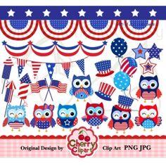4th of July cute owls digital clipart set