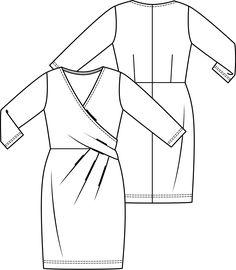 Een tijdloos mooie jurk met een feestelijke uitstraling. Janice ontwierp een supervrouwelijk model met overslageffect en flatteuze plooien, die ongewenste welvingen uitstekend verdoezelen.  LET OP! Een pdf-patroon print je zelf thuis uit! Wil je het patroon liever per post ontvangen, kies dan voor postpatroon. Sewing Blogs, Sewing Hacks, Sewing Crafts, Sewing Projects, Simple Dress Pattern, Dress Patterns, Sewing Patterns, Fashion Flats, Diy Fashion