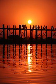 Sunset at U Bein Bridge, Burma (Myanmar)