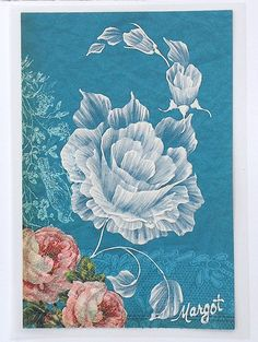 Blue Texture Painted Floral Greeting Card with Roses. SOLD!!!!!!!!!!!!!!!
