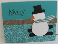 SU punches snowman, for kids cards Christmas Punch, Christmas Art, Christmas Themes, Xmas Cards To Make, Punch Art Cards, Snow Much Fun, Snowman Cards, Snow Man, Cricut Cards