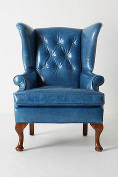Anthropologie, Howell Wingback Chair, Bright Blue Leather