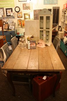 French Farm Table Tiger Oak French Dining Table Base with new planked top with distressing.