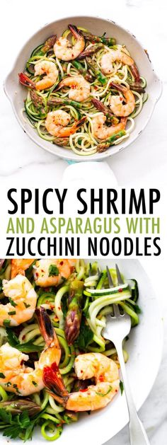 This healthy garlic shrimp and asparagus zucchini noodle pasta takes only 10 ingredients and 20 minutes to whip up! It's perfect for weeknights. #zucchininoodles #zoodles #shrimp #asparagus #eatingbirdfood #lowcarb #glutenfree #cleaneating #weeknightmeal