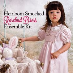 640c01d143 Heirloom Smocked Rosebud Dress Ensemble Kit  This beautiful smocked dress  and matching cape set is