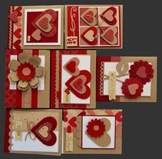 Valentine card set ... luv the use of deep red and kraft ... created with punches and die cuts ...