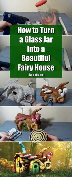 How to Turn a Glass Jar Into a Beautiful Fairy House {Video Tutorial} via @vanessacrafting