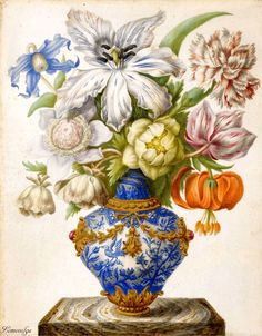 Florentine School, 17th/18th century STILL LIFE OF FLOWERS IN A CHINESE VASE, ON A MARBLE PLINTH gouache, heightened with gold, on vellum laid down on copper 9 1/8 by 7 1/4 in.; 23.2 by 18.3 cm