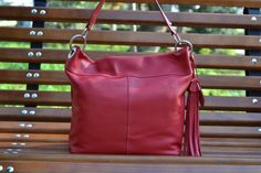 RED LEATHER Hobo Bag  leather shopping bag  leather by CORYSBAGS, $165.00
