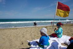 Chillen am Strand entspannt Groß und Klein