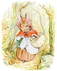 Rabbit took a basket and her umbrella, and went through the wood to the baker's. She bought a loaf of brown bread and five currant buns. Illustration from the classic children's story The Tale Of Peter Rabbit, by Beatrix Potter Beatrix Potter Illustrations, Illustrations Vintage, Beatrice Potter, Peter Rabbit And Friends, Benjamin Bunny, Poster Prints, Art Prints, Children's Book Illustration, Counted Cross Stitch Patterns