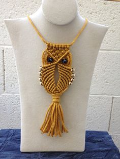 Macrame Owl Necklace (gold)