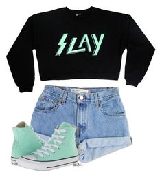 """"""".keep throwing your shade I'm still on the right track"""" by valvcs ❤ liked on Polyvore featuring Levi's, Converse, trevormoran and slay"""