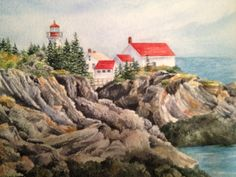 East Quoddy Lighthouse Campobello watercolor 11x14