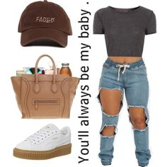 A fashion look from March 2016 featuring Topshop t-shirts, Puma sneakers and CÉLINE tote bags. Browse and shop related looks.